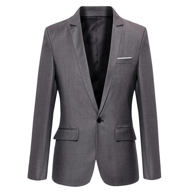 Blue Men Blazers Pockets Coat Blazers Male Custom Men's Business Slim Blazers