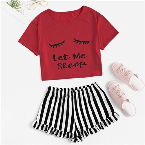 Black Graphic Tee Frilled Striped Shorts PJ Round Neck Short Sleeve Set