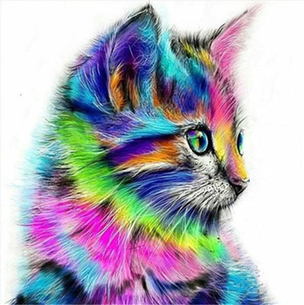 Chat multicolore - Broderie de Diamants