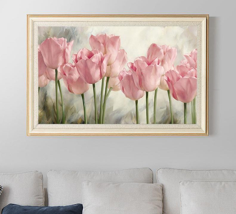 Tulipes roses - Broderie de Diamants