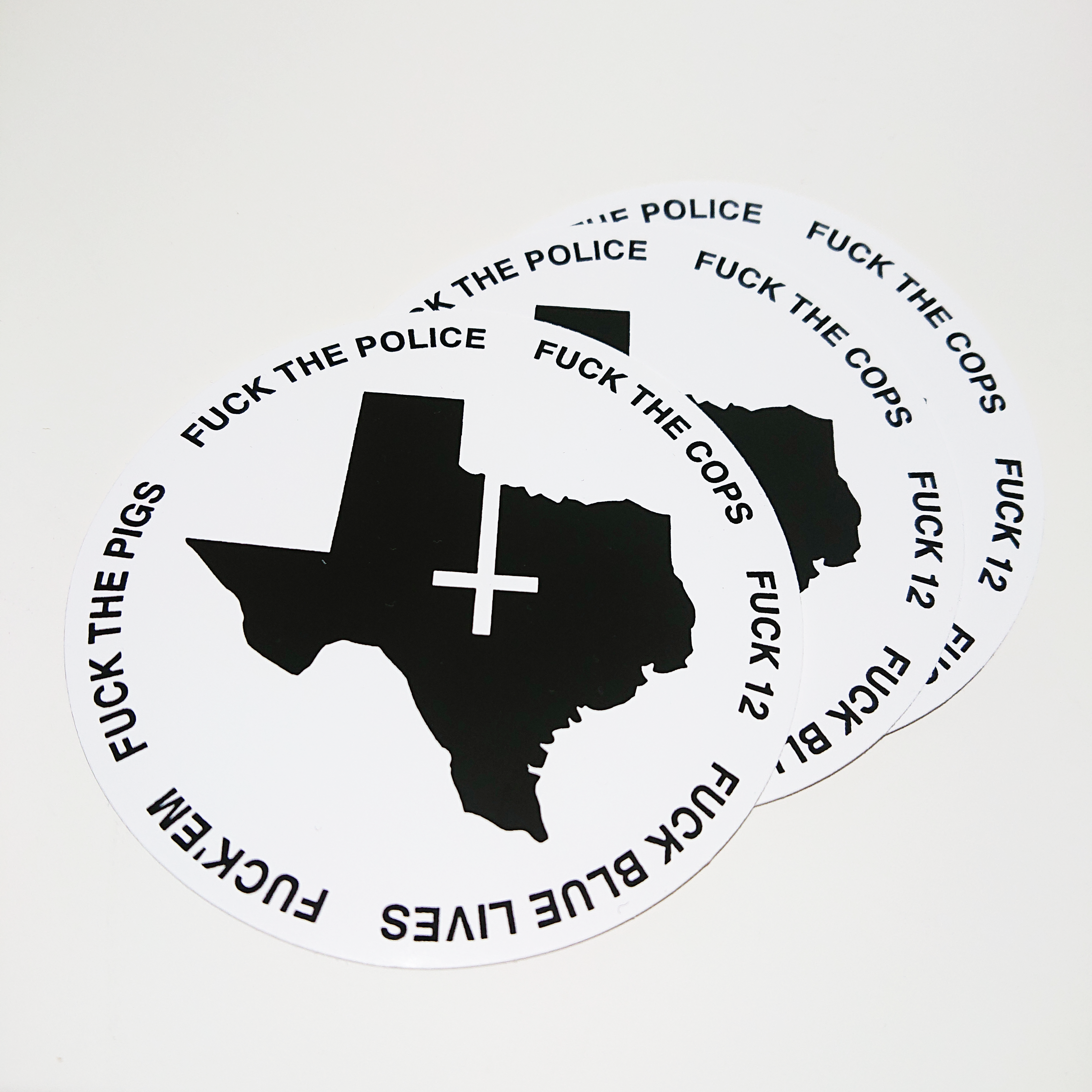 "Petrine TX ""FUCK THE COPS"" vinyl stickers (x3)"