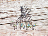 Hair Pins Aquamarine Blue Peridot Green Swarovski Crystal Adornments