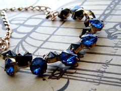 Black and Blue Asymmetrical Necklace Swarovski Crystal Silver Plated
