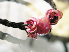 Pink Roses Black Bracelet with a Ceramic Bead