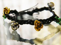 Yellow Green and Silver Roses Bracelet Black Lace and Flowers