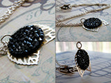 Black Wings Necklace Jet Swarovski Crystal Silver Plated Pendant