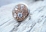 Crystal Clear Peach Swarovski Crystal Ring Rhinestones Silver Plated