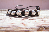 Beaded Bracelet Brown Leather Silver Plated
