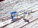 Square Rainbow Earrings Studs Swarovski Crystal Silver Plated