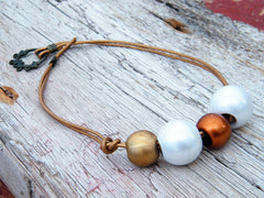 Golden White Pearls Leather Necklace Brown