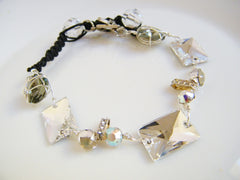 Crystal Clear Smokey Gray Bracelet Swarovski Crystal Black Leather OOAK
