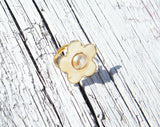 Golden Flower Ring Cream Pearl Vintage Style