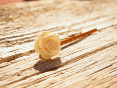 Cream Rose Flower Hair Clip Golden