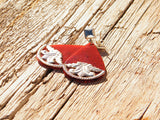 Red Long Earrings Celtic Style Silver Plated Studs