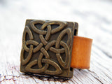Celtic Caramel Brown Leather Ring Gold Plated