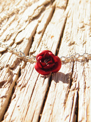Red Rose Necklace Silver Plated Chain