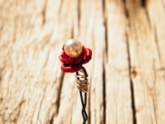 Red Rose and White Pearl Hair Pins Adornment