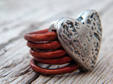 Heart Red Leather Ring Silver Plated