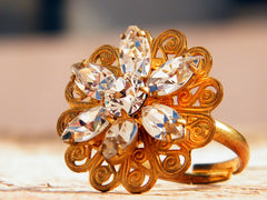 Golden Flower Ring Swarovski Crystal Clear Gold Plated