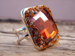 Brown Copper Ring Swarovski Crystal Rhinestones Silver Plated