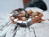 Brown and Caramel Beaded Leather Bracelet Crystal