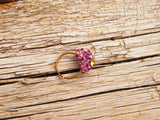 Pink and Yellow Ring Swarovski Crystal Gold Plated