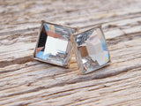 Crystal Clear Swarovski Crystal Earrings Square Studs Sterling Silver