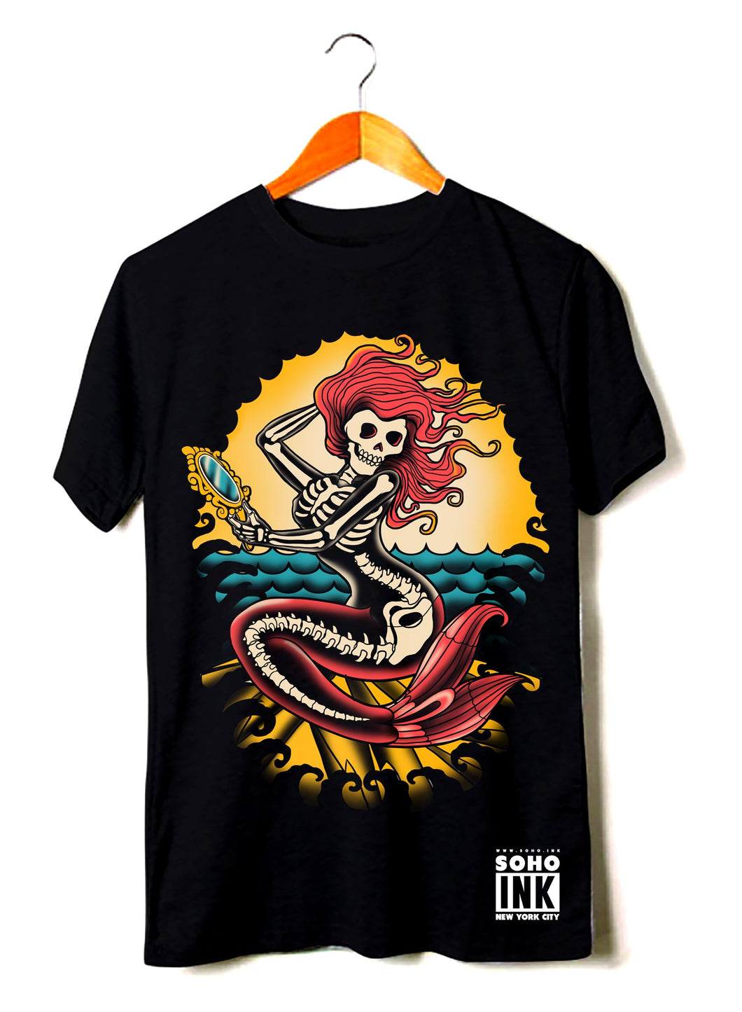 Ocean Mermaid-Black - SohoInk Clothing Merchandise