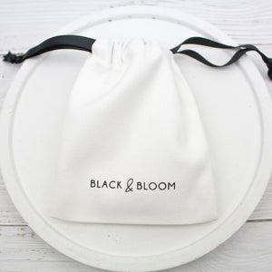 Linen Pouch - Black & Bloom