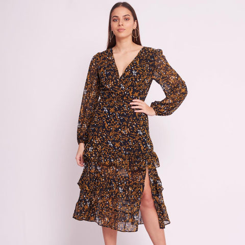 FLORA DRESS - Black & Bloom