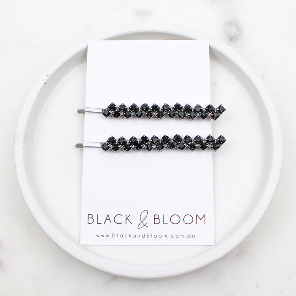 FLO HAIR PIN DUO BLACK - Black & Bloom