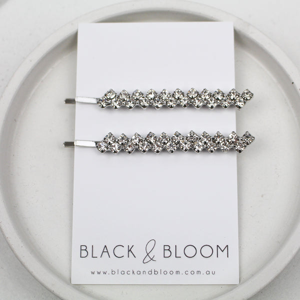 FLO HAIR PIN DUO SILVER - Black & Bloom