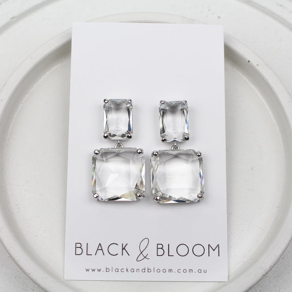 BRONTE EARRINGS SILVER - Black & Bloom