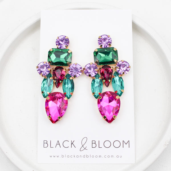 KATE EARRINGS - Black & Bloom