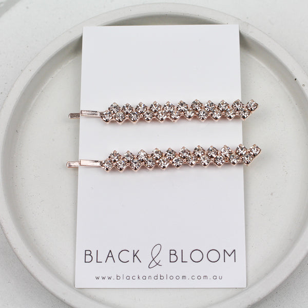 FLO HAIR PIN DUO ROSE GOLD - Black & Bloom