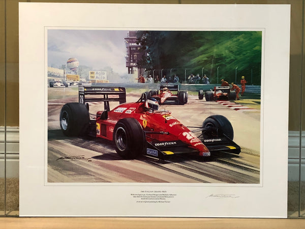 berger_&_alboreto_on_ferrari_f1/87_heading_to_1-2_finish_at_monza_1988_by_michael_turner_-_signed-1_at_albaco.com