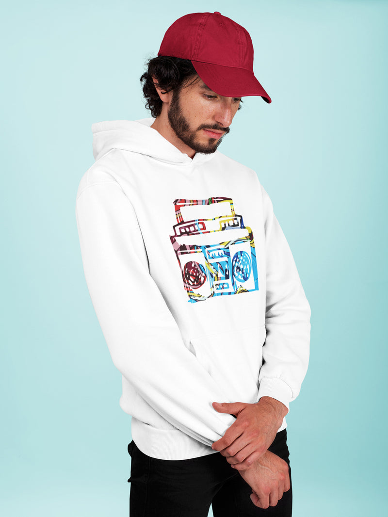 Hoodie with Boombox Motif