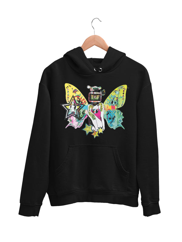 Hoodie with Colorful Butterfly Motif - Women