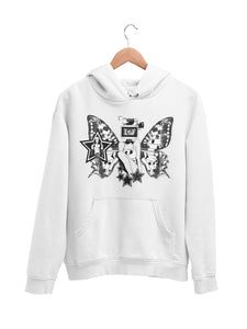 Hoodie with Butterfly Motif