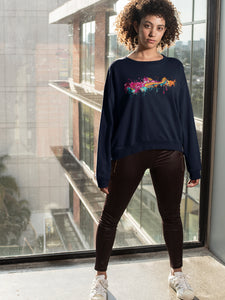 Sweatshirt with Color splat Motif - Women