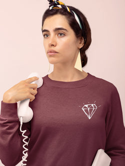 Sweatshirt with Diamond Motif - Women