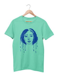 T-shirt with Fish Girl Motif - Women