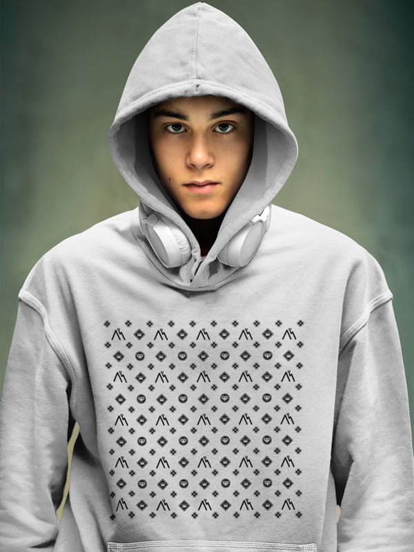 Hoodie with Repeated Pattern Motif