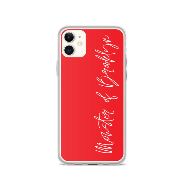 Red Cursive Monster of Brooklyn iPhone Case