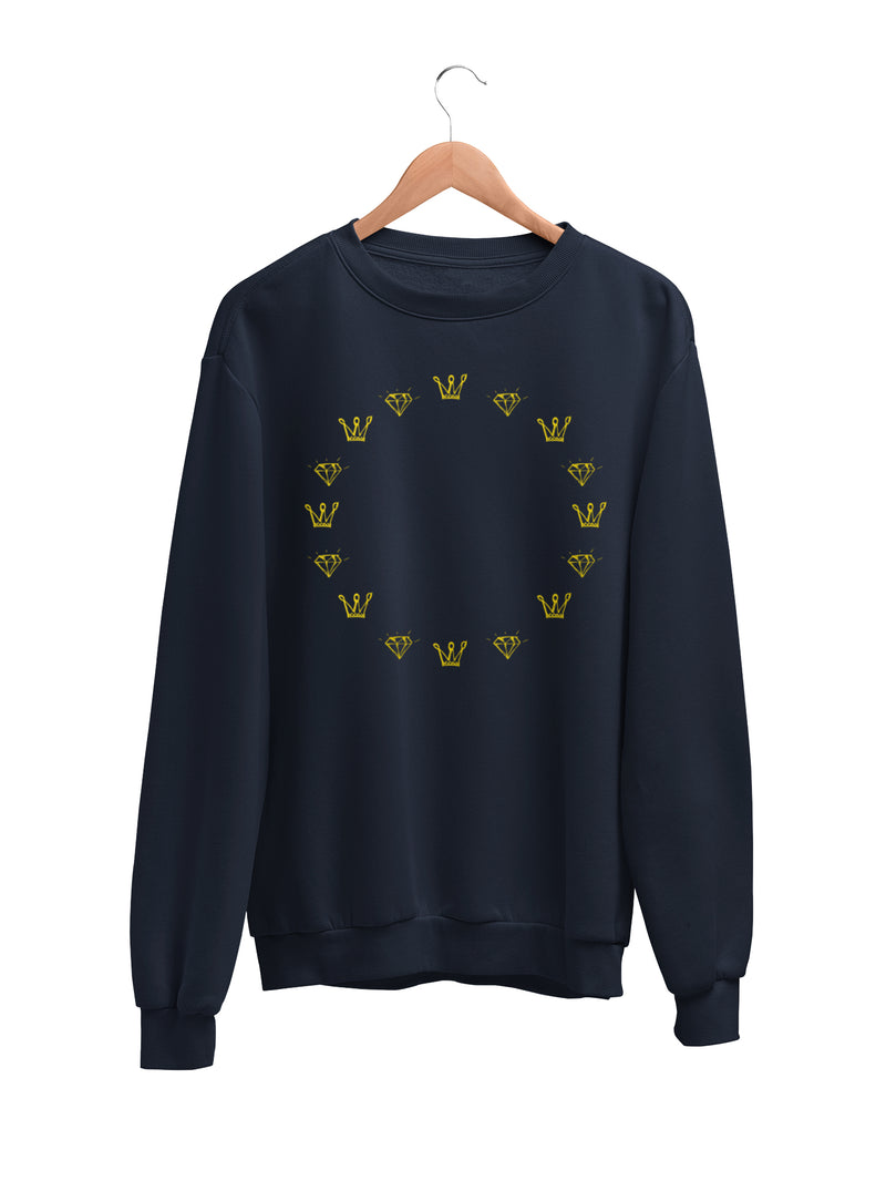 Sweatshirt with Crown and Star Motif
