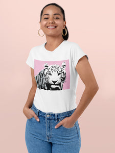 T-shirt with Tiger Motif - Women