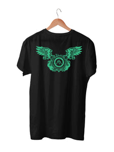 T-shirt Printed With M.O.B. Logo and Wing Emblem Front & Back