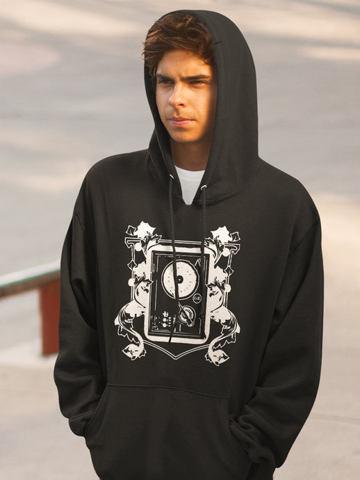 Hoodie with Turntable Motif