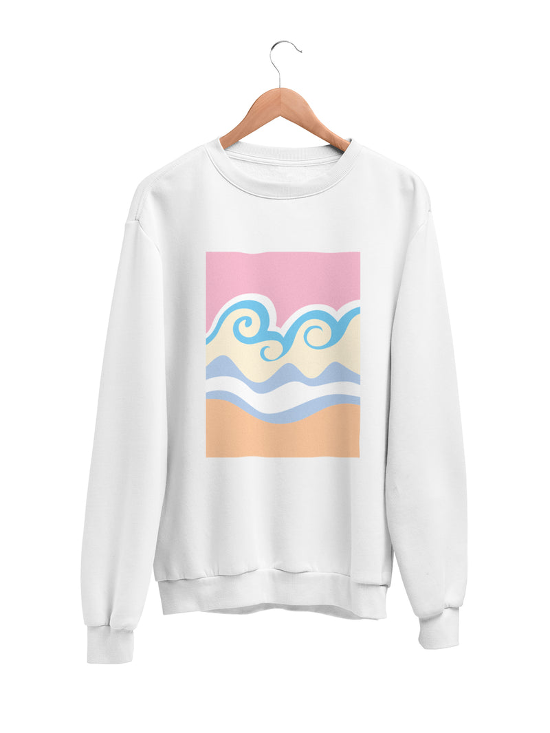 Sweatshirt with Pastel Wave Motif - Women