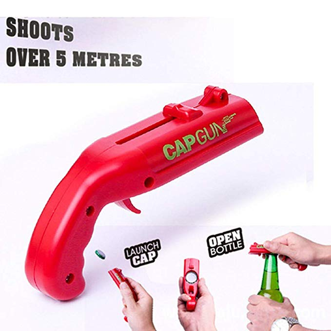 HXZ Pistol Blasting Bottle Opener, Beer Bottle Cap Launcher, Cap Gun Launcher Bottle Opener for Shooting Beer Caps - Shooting More Than 5 Meters - Funny Bar Wine Gift,Gray